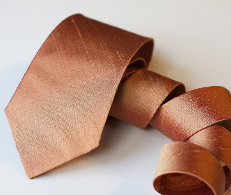 Copper Neck Tie Raw Silk Ties Metallic Tie Copper Wedding image 0