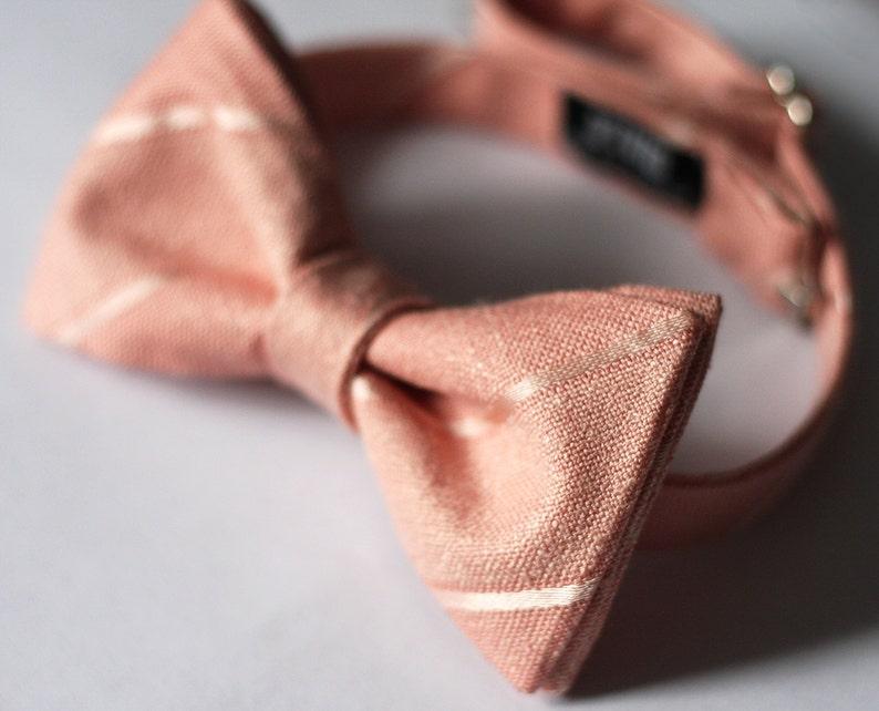 Italian Linen Bow Ties Wedding Blush Pink Bow Ties Groomsmen Peach Striped Linen Bow Tie Salmon Custom Bow Ties
