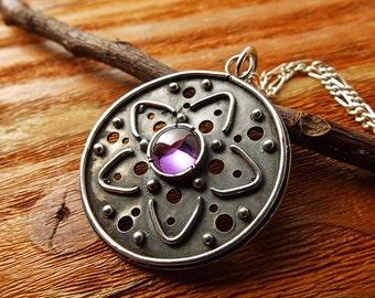 Silver amethyst necklace, Sterling silver oxidized pendant, purple stone silver pendant, mandala silver jewelry, handpierced silver necklace
