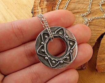 Sterling Silver Mandala Choker, handmade jewelry, boho mandala necklace, artisian style jewellry, statement necklace