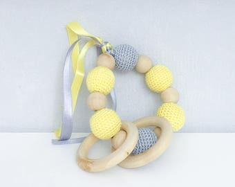 Rattle, teether wood and cotton, yellow and grey pattern