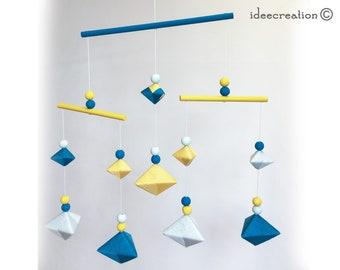 Mobile Bébé formes géométriques en bois et fil de coton pour chambre d'enfant, modèle Bleu canard, jaune et vert très clair
