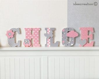 Lettres a poser, lettres prénom en bois et tissu imprimé personnalisable au prénom de l'enfant, modèle rose et gris
