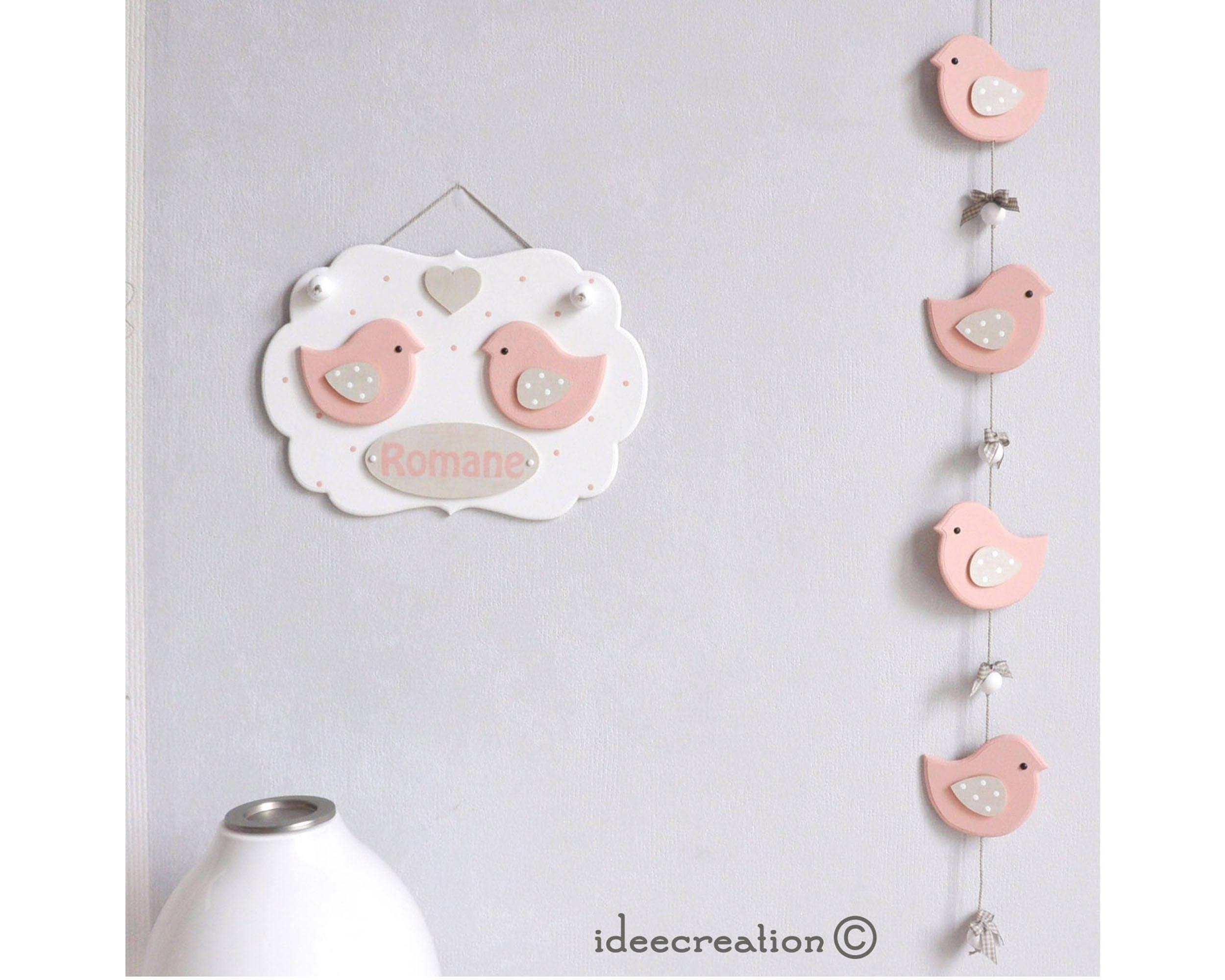 cadre pr nom b b d co oiseaux roses et guirlande pour etsy. Black Bedroom Furniture Sets. Home Design Ideas