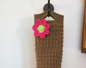 Crochet Plastic Bag Dispenser in Light Brown with Pink Flower