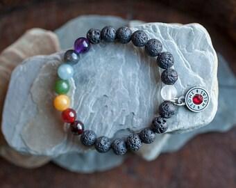 Chakra Bracelet, Natural Gemstones, Lava Rock, Sandalwood, 7 Chakra Bracelet, Meditation Bracelet, Mala, Clear Quartz, Balance, Energy