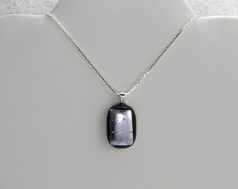 Silver Dichroic Glass Pendant On Silver Chain (Item #112)