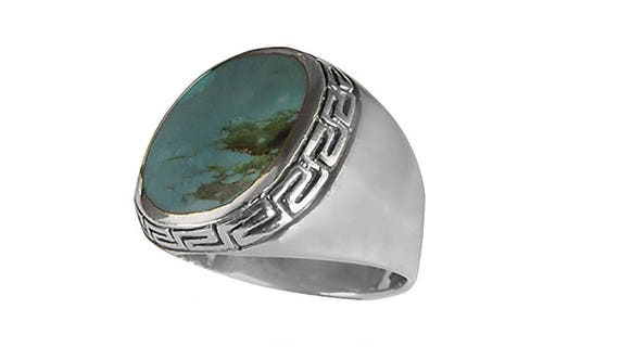 silverandgoldgallery.com Southwest Sterling Silver 10x12mm Genuine Turquoise Mens Ring