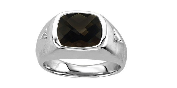 Sterling Silver 6x6 Square Black Onyx with 0.02 Tw Diamonds Mens Ring