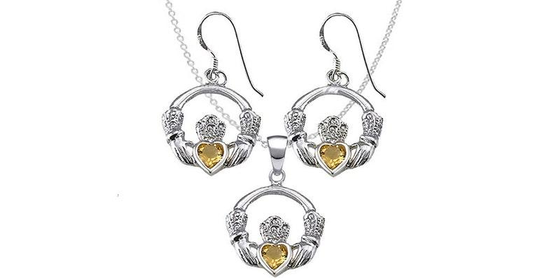 EP106-C Sterling Silver Claddagh Set with Genuine Citrine Gemstone