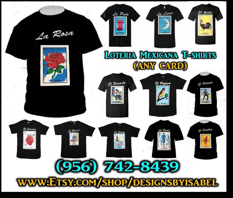 c110211239 La Rosa Loteria Mexicana Themed T-shirts, Perfect Gift ideas, Lotería  accessories, Any Card or logo, Classic Mexican Loteria Board Game,