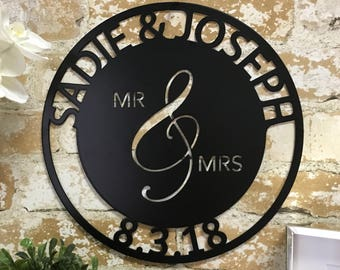 Personalized Mr. And Mrs. Date Metal Sign - Wedding Gift - Couples Wedding Gift -Metal Home Decor - Anniversary Gift