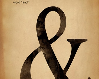 Ampersand, Writing, Punctuation and Grammar Motivational Art Print. For School, Library, Office or Home