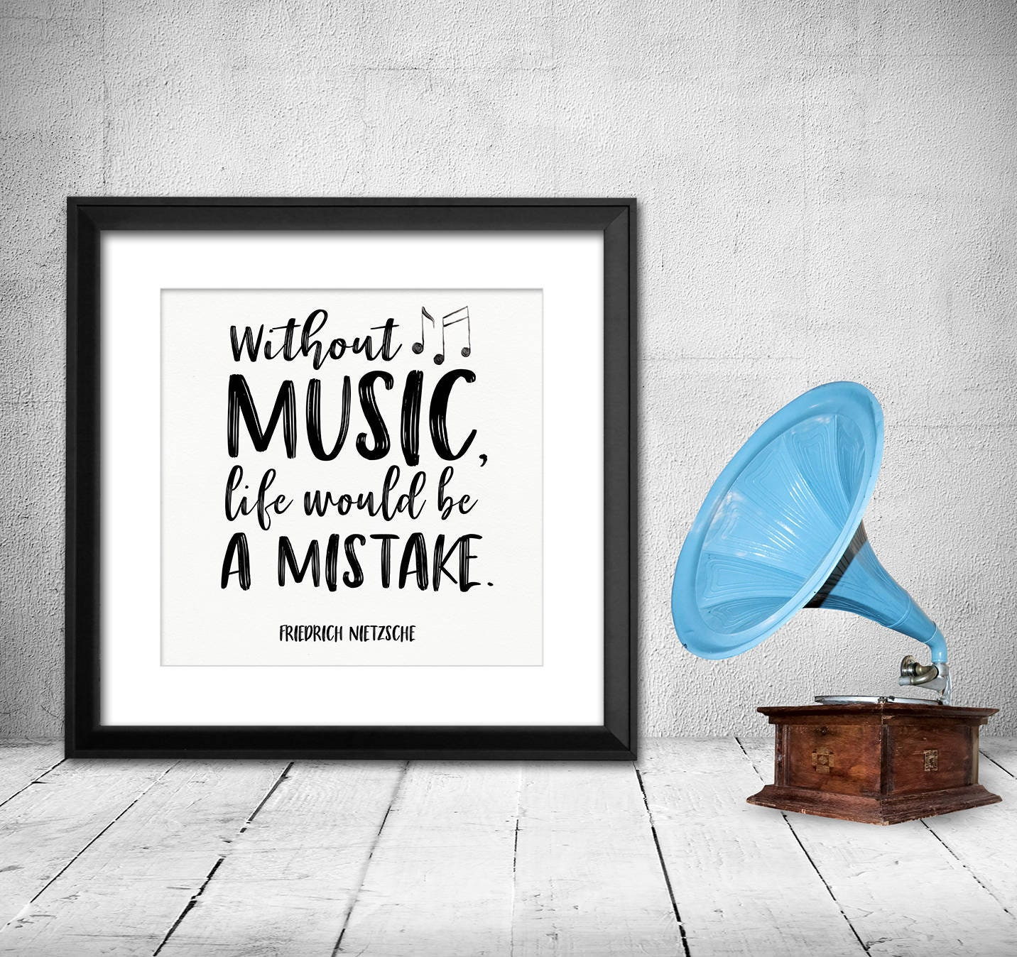 Without Music Life Would Be A Mistake Nietzsche Quote Art Etsy