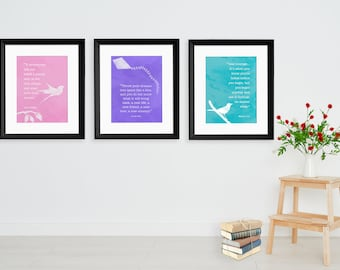 Harper Lee, Jane Austen and Anaïs Nin Fine Art Print Set. Inspirational Quote Posters for Home, Classroom, Library or Nursery