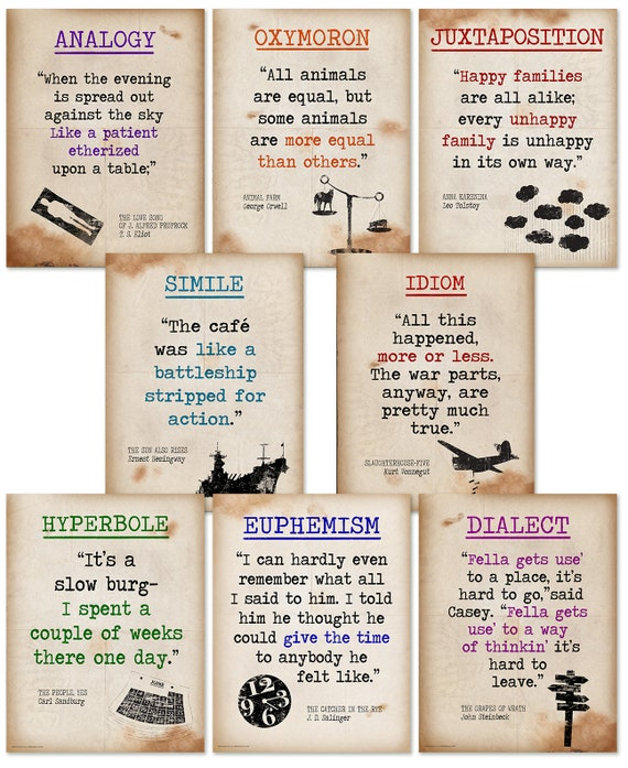 Literary Terms Ii Quote Poster Set Of Eight Classroom Etsy