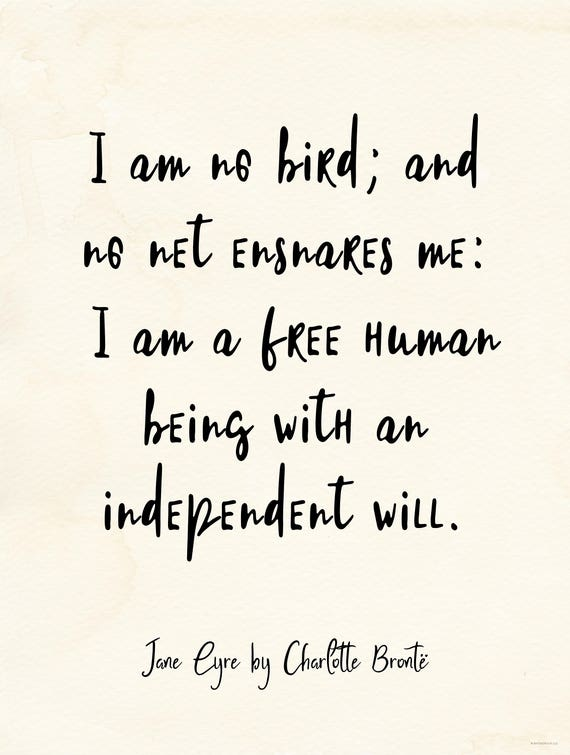 Independent Will Jane Eyre Vintage Style Quote Poster For Etsy Custom Quotes Jane Eyre