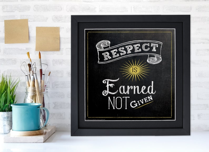Respect is Earned Not Given Inspirational Quote Poster. 12 x 12 Framed inches