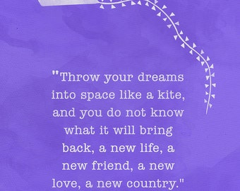 Throw Your Dreams into Space Minimalist Art Print. For School, Library, Office or Home. Anaïs Nin Quote Poster