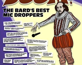 Shakespeare Insults Literary Fine Art Print. English Literature Poster