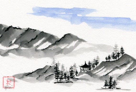 Mountain Hideaway Chinese Brush Sumi E Landscape Painting Ink Painting Original Art Pagoda Hills Trees Clouds Sky Scenery