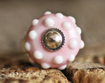 Handmade Lampwork Glass Bead Ring Pink Color