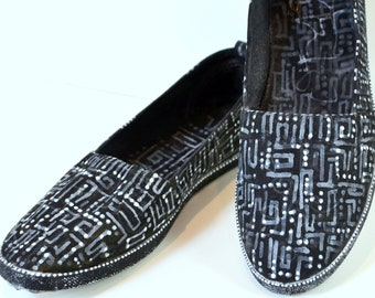 Circuitous - handpainted slip-on shoes