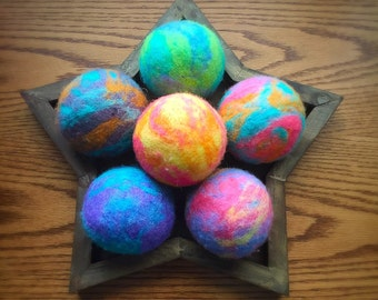 Ovella Wool Dryer Balls: The Doces Tye Dye Collection - set of 6 six unscented, colorful, unique, bright, pink, green, teal, yellow, purple