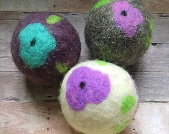 Ovella Wool Dryer Balls: The Flor Collection - set of 3 three unscented, flower, colorful, unique, bright, pink, green, teal, yellow, purple