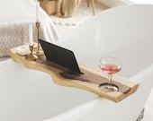 Bathroom Tray, Bathtub Tray Wood, Bath Shelf, Live Edge Tray, Easter Gift, Walnut Tray, Bathtub Caddy, Wooden Bath Tray, Bath Board Tray