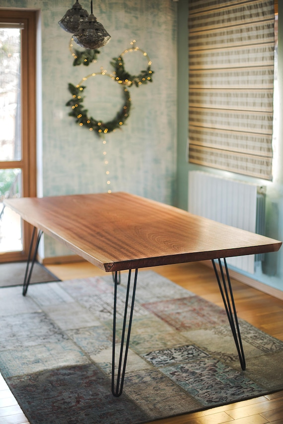 Wooden Table, Kitchen Table, Dining Table, Living Room Table, Wooden Rustic  Decor, Farmhouse Dining Table, Rectangle Table, Steel Legs Table