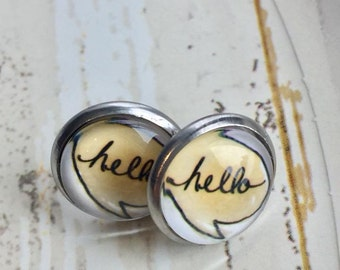Stud Earrings, earrings, Hello, white, gold, black, handmade, stainless steel