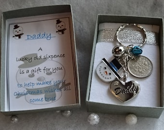 Lucky Sixpence Coin Charm Gift Boxed For A Male Family Member Dad Grandad Uncle Son Etc Snowman Jingle Bells Key Ring Charm Christmas Theme