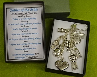 Father Of The Bride Meaningful Keepsake key ring Charm Gift Box Button Sweet Beer Medal  Balloon Smiley Face Charms