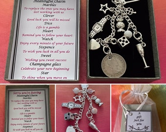 Sorry Your Leaving Meaningful Keepsake keyring Charm Gift Boxed Rhymes Sixpence