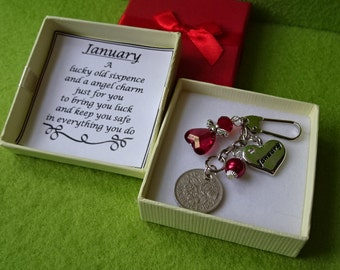 Month Heart Charm And Birthstone Colour Angel Lucky Sixpence Coin 12 Month Year Keepsake Key Charm