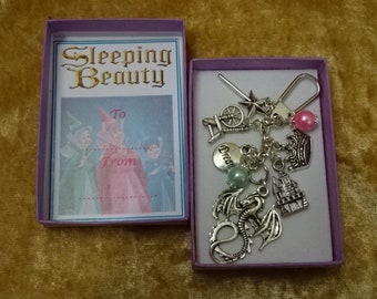 SLEEPING BEAUTY Disney Inspired Key Ring Charm Gift Keepsake Boxed Dragon Spinning Wheel Dragon Beads