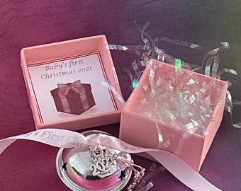 Baby's First Christmas Jingle Bell SnowFlake Style Silver Pink Ribbon Crystal 2021 Charm Gift Boxed Tree Decoration Keepsake Jingles Stars