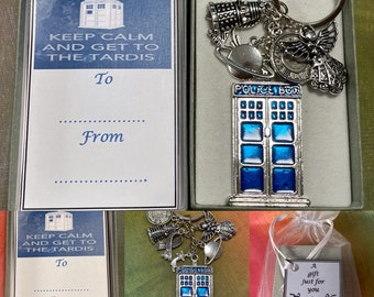 DR WHO Inspired Key ring charm set tardis scarf angel planets Daleks cyberman gift boxed series blue telephone box space stars police box