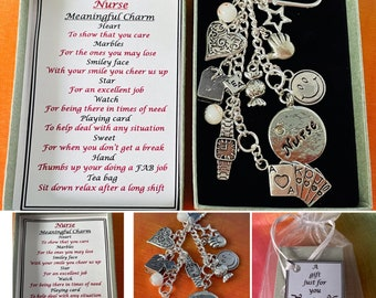 Nurse Meaningful Keepsake keyring Charm Gift Boxed Rhymes Watch Star Heart