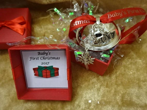 Baby/'s 1ST First Christmas 2019 White Jingle Bell Polar Express Pink Ribbon