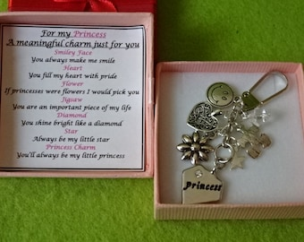 PRINCESS Meaningful Keepsake Key ring Charm Gift Boxed Rhymes Any Occasion Boxed