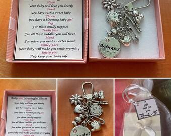 NEW BABY GIRL Meaningful Keepsake Key ring Charm Gift Boxed Rhymes Teddy Bear