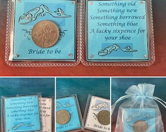 BRIDE TO BE Lucky Sixpence british coin tradition keepsake gift something old and for her shoe hen party blue white organza bag keepsake