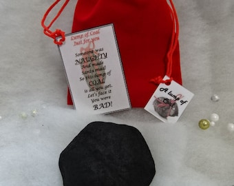 Christmas Large Lump Of Coal In A Santa's Sack Red Or Black With Poem Naughty Or Nice Gift Stocking Filler Fun Novelty Quirky Gift