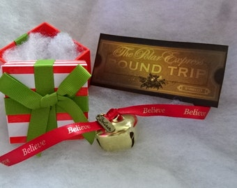 OCTOBER Special Price Polar Express Inspired Jingle Sleigh Bell Santa Train Ticket Gold Silver Red Believe Charm Ribbon Stripe Box