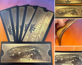 Polar Express Style Ticket Double Sided Christmas Stocking Filler Gift Believe Magical Buy 1 Get 1 Free 80grams shiny paper