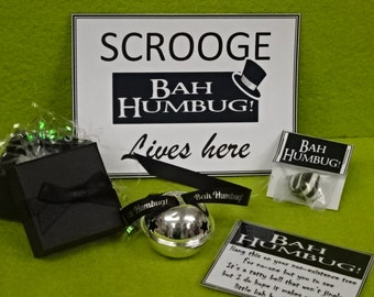 BAH HUMBUG Christmas Non Jingle Bell Grumpy People Scrooge Gift Boxed Believe Polar Express Style Bell Humbug Sweet Card Black Ribbon