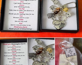 THANK YOU Meaningful Keepsake keyring Charm Gift Boxed Rhymes Teacher Wedding Meaningful Words Dice Flower Pebble Heart Gem Tea Bag Watch