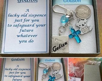 GODSON lucky sixpence keepsake key charm pendant set blue cross rhinestone teddy bear blue heart ribbon gift box poem christening coin beads